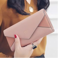 New Style Envelope Designer Clutch Wallets For Women Hasp Pocket To Coin Card Holder Female Purses Long Wallet Ladies – Clutch & Totes – Purses And Handbags Crossbody Cheap Purses, Cute Purses, Cheap Bags, Pink Purses, Fabric Purses, Large Purses, Brown Purses, Cute Handbags, Purses And Handbags