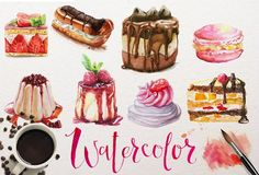 watercolor desserts collection by Eve_Farb on @creativemarket