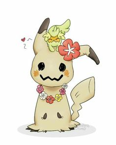 Mimikyu, Comfey, cute, heart, sad, crying, flowers, necklace; Pokémon