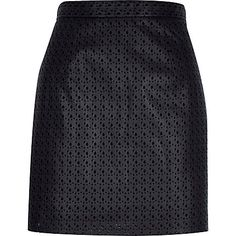 Black laser cut A-line skirt £30 #riverisland