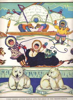 Eskimos inuit. Black and white character for kids activities and coloring book.