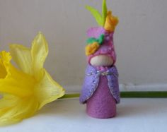 Spring Bud Gnome / Hand stitched Wool Felt on wooden peg doll