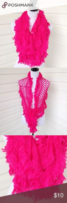 "Stretchy handmade hot pink scarf Stretchy handmade hot pink scarf  Very stretchy Can be double looped and worn around neck or worn over shoulders like a shrug.   Approximate measurements: 45"" length loosely hanging.   Material unknown but very soft.   No visible flaws. Great condition Accessories Scarves & Wraps"