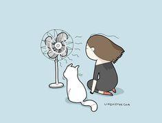 Enjoy the wind Cute Cats, Funny Cats, I Love Cats, Cutest Animals On Earth, Cute Animals, Chibi Cat, Funny Doodles, Cute Animal Memes, Cat Comics