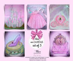 Girls Princess Room, Princess Wall Art, Princess Nursery, Princess Shoes, Baby Wall Art, Nursery Wall Art, Cinderella Coach, Crown Art, Baby Girl Nursery Decor
