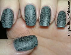 Base Polish: Ciate - Vintage Stamping Polish: ELF - Black Matte: George - Matte Top Coat Stamping Plate: Bundle Monster 312