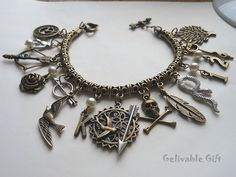 Steampunk Hunger Games Charm Bracelet,antique brass Mockingjay and Katniss's bow and arrow