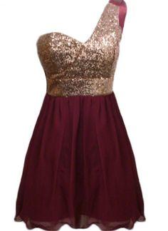 Multi Sequin Dress - Wine Color One Shoulder Dress   UsTrendy