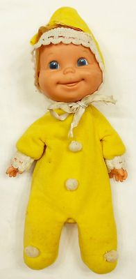 Vintage 1970 Mattel BABY BEANS Yellow Doll Rubber Face Soft Body Tush Tag