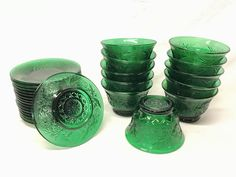 Forest Green Color, Green Colors, Antique Glass Bottles, Beautiful Forest, Dessert, Anchor Hocking, Glass Collection, Colored Glass, Shot Glass