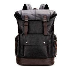 Patchwork Large Capacity Leather Backpack