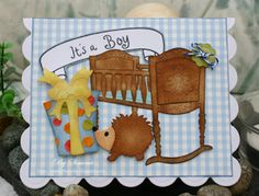 Simone Lupscha: Papiart for CottageBLOG: It's A Boy... - 11/21/13.  (Dies: Baby Cradle; Presents, Variety; Baby Buttons Mini; Hedgehog Mini).  (Pin#1: Dies: Cottage Cutz.  Pin+: Baby...)
