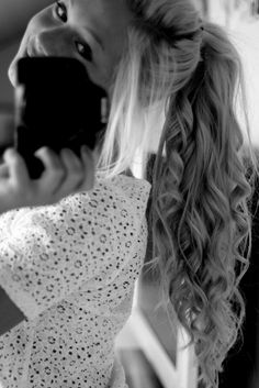 Curly ponytail- i dream of hair like this; length, color, texture, everything.