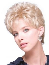 Durable Blonde Curly Short Hair Falls & Half, Half Wig Usa Curly Wigs, Short Curly Hair, Short Hair Styles, Nape Of Neck, Wig Stand, Cool Blonde, Half Wigs, Long Wigs, Synthetic Wigs