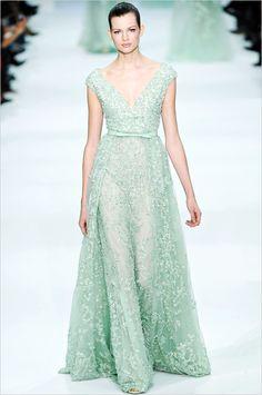 dreamy Elie Saab mint gown http://www.weddingchicks.com/2013/09/04/diy-wedding-favor-decoration/