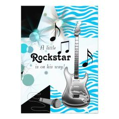 Teal Blue Zebra Rock Star Baby Boy Shower 5x7 Paper Invitation Card