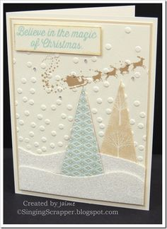 CTMH White Pines paper pack, Gold Glitter Paper, and Believe In Christmas stamp set
