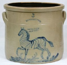 W. A. Macquoid & Co Pottery Works Little 12th St. New York 3 gallon straight sided crock