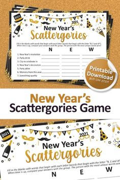New Years Eve Games, New Years Activities, Printable Designs, Printables, Christmas Family Feud, Family Feud Game, New Year's Games, Holiday Party Games, Letter N Words