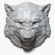 Angry (roaring) Wolf Head Relief. Asymmetric high polygon 3D model (digital sculpture). MAX, FBX, OBJ and STL (error free) files. For 3d printing, CNC carving, for making a mold for casting in metal, plastic, chocolate, etc.