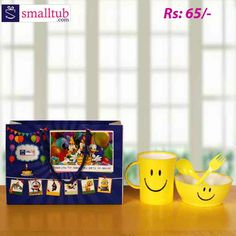 Kids fashion presents this smiley bowl with smiley mug which is made of plastic and comes in yellow color. Includes one cup, bowl, spoon & fork. These are best suitable for return gifts of birthday parties or any other occasions for kids. Birthday Return Gifts, Smiley, Fork, Spoon, Birthday Parties, Kids Fashion, Presents, Plastic, Mugs