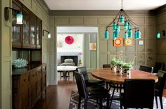 Turquoise Chandelier in a Modern Tudor Dining Room by LDa Architecture & Interiors