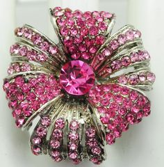 Unique Pink Rhinestone Ring/Statement by victoriascharms on Etsy