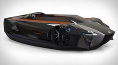 Future Sports Cars   Future technology Concept of a sports car on an air cushion