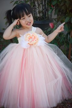 Peach and Coral Underlay Tutu Dress.~ cute for flower girl, ESP with bolero or cardigan Flower Girl Tutu, Flower Girl Dresses, Flower Girls, Little Girl Dresses, Girls Dresses, Robes Tutu, Tulle Dress, Tutu Dresses, Fairy Dress