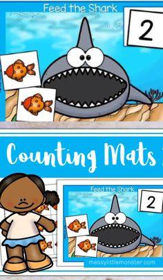 Shark counting activity for preschoolers. Shark counting activity for preschoolers. Counting Activities For Preschoolers, Shark Activities, Craft Activities For Kids, Kindergarten Activities, Preschool Activities, Shark Games For Kids, Toddler Teacher, Ocean Themes, Numeracy