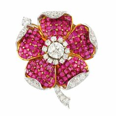Gold, Platinum, Diamond and Invisibly-Set Ruby Flower Clip-Brooch Centering one…