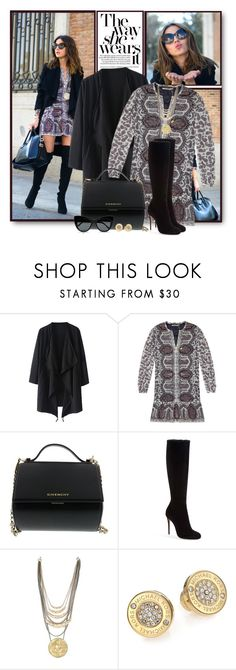 """""""Print Dress & Waterfall Coat"""" by brendariley-1 ❤ liked on Polyvore featuring Maison Scotch, Givenchy, Christian Louboutin, Michael Kors, STELLA McCARTNEY, women's clothing, women, female, woman and misses"""