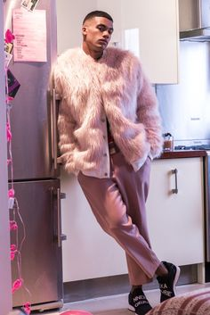 Model: Kemar Cummins in 'pink fur' for Fashion Glossary UK