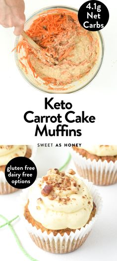These keto carrot cake muffins are incredibly moist with a flavorsome crumb filled with crunchy pieces of pecans. Bonus, one of this keto muffins only contains only 4.5 grams net carb per serve and they are dairy-free, if you don't add the cream cheese frosting. Healthy Low Carb Recipes, Low Carb Desserts, Keto Recipes, Ketogenic Desserts, Flour Recipes, Healthy Sweets, Healthy Options, Diabetic Recipes, Keto Cupcakes