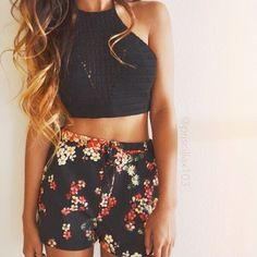 Patterned shorts with a black crop top! Xx