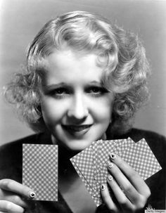 1930s Nail art! Anita Page, 1930s, with hearts, clubs and spades decorating her nails.