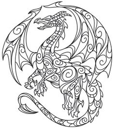 ☮ American Hippie Art ~ Coloring Page .. Dragon
