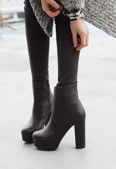 high heeled combat boots | MILLY Black High Heel Military Combat ...