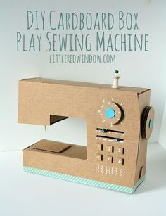 Encourage little seamsters' imaginations with a #DIY cardboard play sewing machine.