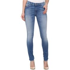Diesel Skinzee Super Skinny 839P (Denim) Women's Jeans (1 080 ZAR) ❤ liked on Polyvore featuring jeans, blue, embroidered jeans, blue jeggings, skinny leg jeans, jegging jeans and denim skinny jeans