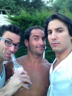 Jeremy and two comedian mates; Lamine Lezghad on the left and Florent Peyre in the middle