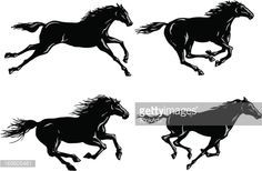 Arte vectorial : Silhouettes of Horses Running