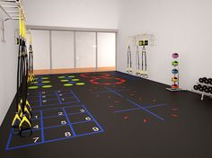 3D rendering of a racquetball court conversion into a profitable small group exercise space.