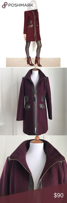 Via Spiga Wool Blend Coat Size 12 Deep plum colored wool blend coat with high neck zip. Gorgeous color. Gold zip accent. Leather trim. Excellent condition. Via Spiga Jackets & Coats