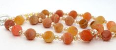 GORGEOUS Matte Natural Peach and Lemon  Agates, Pale Peachy Pink Pearls and Iridescent Golden Crystals Necklace | AyaDesigns - Jewelry on ArtFire