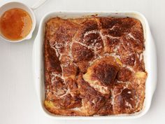 Baked Croissant French Toast With Orange Syrup from FoodNetwork.com