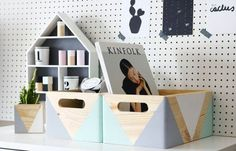 Geometric wooden box with handles – Wooden storage – Toy box – Office storage – Kitchen storage – Storage idea – Organizer – Wooden crate - Wood Crates Shipping Wooden Storage Crates, Wooden Storage Boxes, Crate Storage, Wood Crates, Office Storage, Kitchen Storage, Storage Room, Wooden Shipping Crates, Crate Table