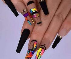 Edgy Nails, Dope Nails, Stylish Nails, Trendy Nails, Bling Acrylic Nails, Acrylic Nails Coffin Short, Best Acrylic Nails, Ongles Bling Bling, Bling Nails