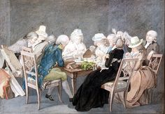 Evening party at the Duchess Anna Amalia of Saxony -Weimar- Eisenach, watercolor by Georg Melchior Kraus ( 1795 )