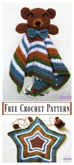 Crochet Baby Girl The Cuddliest Crochet Bear Lovey – Free Pattern - 35 Free Crochet Lovey Patterns for Your Cute Baby - DIY Crochet Lovey Free Pattern, Crochet Baby Blanket Beginner, Crochet Motifs, Crochet Bear, Crochet Blanket Patterns, Crochet Gifts, Cute Crochet, Crochet For Kids, Crochet Dolls